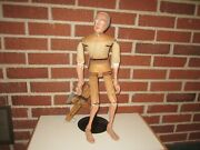 Antique Folk Art Expertly Hand Carved Wood Jointed 21 Marionette Puppet Carving