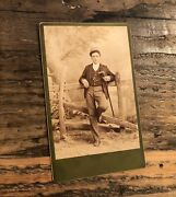 1880s Cabinet Card Handsome Young Man Walking Stick Casual Pose - Great Photo