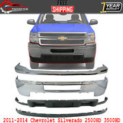 Front Bumper Cover Kit Chrome Steel For 2011-2014 Chevy Silverado 2500hd 3500hd