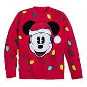 Disney Store Mickey Mouse Holiday Cheer Men's Sweater Light Bulbs Christmas New