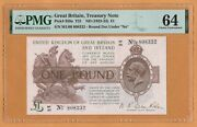 Uk Great Britain And Ireland 1 Pound Banknote Unc Pmg-64 Nd 1922-23 P-359a