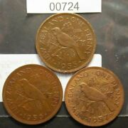 New Zealand Penny Sets,1955-n.s.s,1956,1957, See Images For Grade.