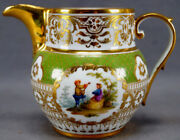 Klemm Dresden Hand Painted Courting Couple Green And Gold Creamer C. 1891 - 1914