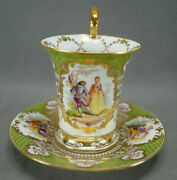 Franziska Hirsch Dresden Hand Painted Courting Couple Green And Beaded Gold Cup