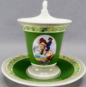 Kpm Berlin Hand Painted Wwi Frederick The Great Portrait And Green Empire Form Cup