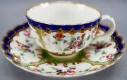 Dr Wall Worcester Hand Painted Floral Cobalt Green And Gold Tea Cup And Saucer C