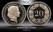 1996b Switzerland 20 Rappen Ngc Pf 69 Ultra Cameo Finest Known