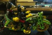 Vintage Cast Iron Motorcycle With Mickey And Minnie Mouse Riding It No Screws
