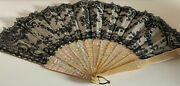 Antique Chantilly Lace Hand Fan With Mother Of Pearl Spines Vv738