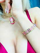 Birthday Anniversary Wife Daugher Mom Faberge Egg + Necklace And Bracelet Set 24k