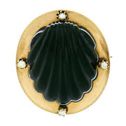 Antique Victorian 18k Gold Banded Black Agate Shell Pearl Mourning Locket Brooch