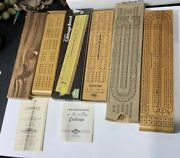 Lot 3 Vintage Wooden Cribbage Games 1941 W.c. Horn And 1974 E.s. Lowe And Brooks