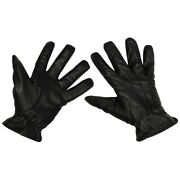 Mfh Gloves Men's Leather Military Work Motorcycle Protection Resistant Black