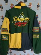 Vintage Snap On Racing Windbreaker Jacket Size L Large Patches 90s Embroidered