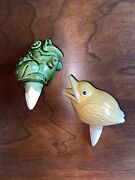 Vintage Ceramic 1 Frog And 1 Baby Bird Plant Watering Spike Waterer
