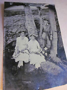 3/4 Tintype 3 People In Forest, Bow And Arrows, Rare Beech Tree Folk Art Carvings