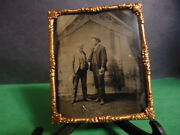 1/6 Tintype Of 2 Men Conventioneers W/american Flags In Background In Frame