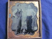 1/6 Tintype Of 2 Men Standing Above Pit Bull Dog In Matting And Frame