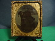 1/6 Tintype Of Man Sitting Holding His Dachshund Dog In His Lap In Mat And Frame