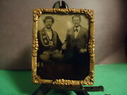 1/9 Tintype Of 2 Men, One Wearing A Sash With Stars Maybe Odd Fellow Or Award