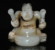 China Ancient Hetian Jade Carved Hit Drum Musical Instrument People Man Statue
