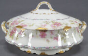 Gda Limoges Pink Wild Roses And Blue Ribbon And Gold Covered Vegetable Circa 1940s