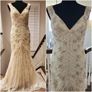 Valentino Wedding Evening Cocktail Runway Couture Beaded Crystal Gown Dress Gold