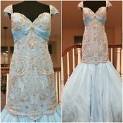 Christian Dior Wedding Evening Cocktail Beaded Crystal Couture Runway Gown Dress