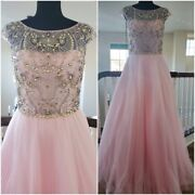 Christian Dior Blush Wedding Evening Cocktail Beaded Crystals Gown Dress Runway