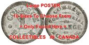 Comerand039s Commercial College 1860and039s Boston = Poster Coin / Token 10 Sizes 17-7ft