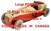 Wind-up Rossignol Race Car 1920's Driver 52 =poster Toy Car 10 Sizes 17 - 6 Ft