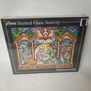 New Vermont Christmas Stained Glass Holy Family 1000 Piece Puzzle Religious God