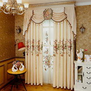 Luxury European Curtains For High-grade Chenille Embroidery Sheer Cloth Valances