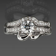 Diamond Matching Band Set Ring 1.1 Ct Flawless 18k White Gold Vs1 D Colorless