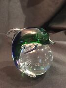 Blue Green Dolphin Clear Glass Globe Ball With Bubbles Paperweight