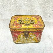 1920s Vintage Floral Embossed Advertising Litho Tin Box Early Box Collectibles