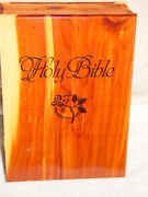 King James Version Holy Bible W/ Wooden Box United Steel Workers Of American