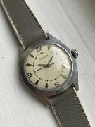 Bulova Vintage Military Watch Waffle Dial Blue Hands 1950s Big Crown