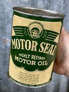 Motor Seal Quart Motor Oil Can Chicago Illinois Bodie Hoover Vintage Metal