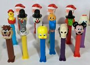 Lot Of 24 Vintage Pez Dispensers Looney Tunes Mickey Mouse Dr Skull Tweety Taz