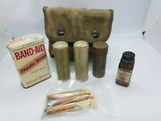 Vintage Wwii U.s.m.c. First Aid Pouch W/ Iodine Swabs And Other Contents Wow