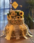 Oh Babee Sunflower And Bee Diaper Cake