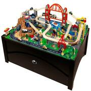 Train Set Wooden Table Railway 100 Accessories Wooden Pieces Toy Play Storage