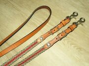 New High Quality Light Oil Leather Western Barrel Reins W/ Woven Material Detail