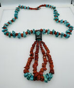Vintage Navajo Sterling Silver Turquoise And Coral Huge Beaded Necklace Signed Amc