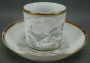 Spode Bat Printed 557 Landscape Scene And Gold Coffee Can And Saucer Circa 1810 D
