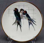 Minton Hand Painted Barn Swallows Birds And Gold 9 5/8 Inch Dinner Plate C. 1888