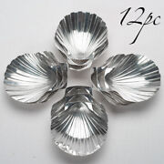 12 Antique French Sterling Silver Nut Candy Serving Dish Plate Set Sea Shell