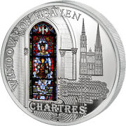 Cathedral Our Lady Of Chartres Windows Of Heaven Silver Coin Cook Islands 2013