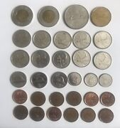 Job Lot Of Mixed Canadian Coins Canada Currency Circulated Money 32 Coins 2 Ect
